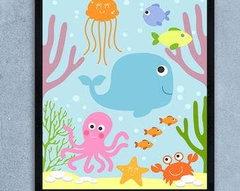 Sea Animals Nursery, Sea Animals Wall Art, Printable Decor , Ocean Theme, Nursery Wall Art, Printable Nursery Decor, Instant Download