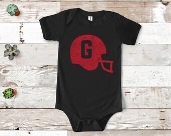 5a099bcce Baby Georgia Helmet One Piece | Infant UGA | Toddler Georgia Bulldogs | Baby  Shower Gift | New Born | Kids Georgia