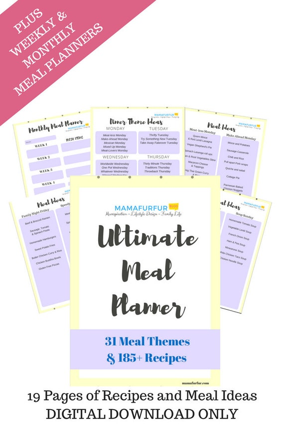 family meal planning recipe guide with shopping lists etsy
