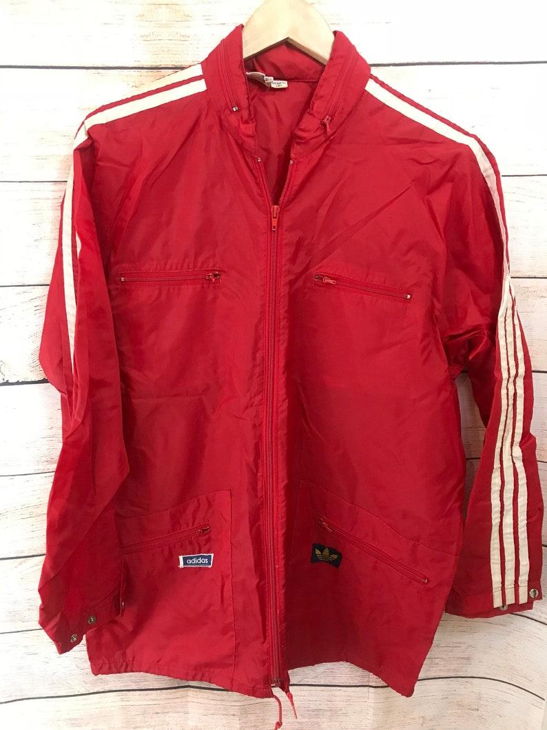 eeca6078eed7 Vintage Adidas Nylon Red Jacket Windbreaker Trefoil M L
