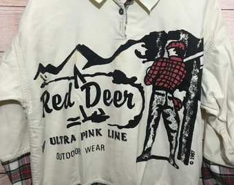 1987 Red Deer Wilderness Plaid Mens Shirt XL