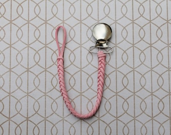 Light Pink Braided Faux Leather Pacifier Clip, Binky Clip, Soother Clip, Paci Clip