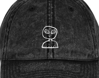 782bb794cef Alien Vintage Cotton Twill Cap - Multiple Colors - Cute Space Man -  Embroidered Dad Hats - Gift Ideas - Distressed Hats