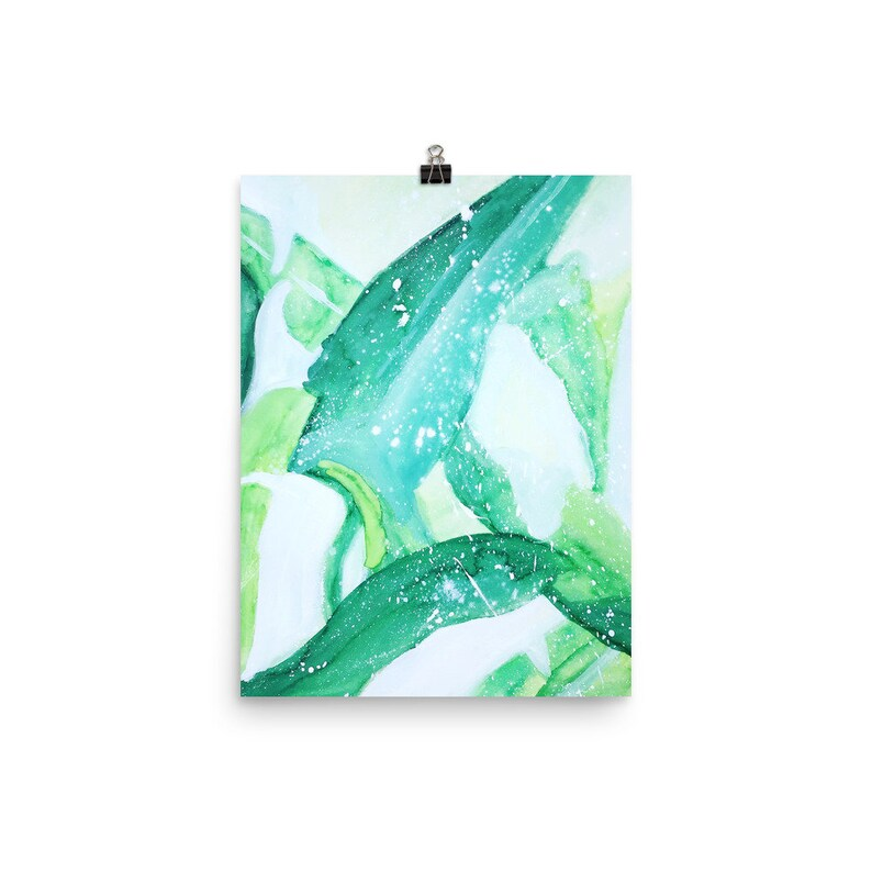 Home Decor Tropical Prints Matte Prints Nature Art Mixed Media Painting Fine Art Print Green Plant Leaf Art Palm Leafs