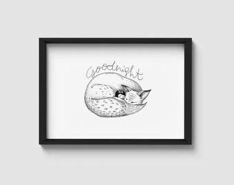 Sleeping fox | black & white illustration | A4/A5 art print
