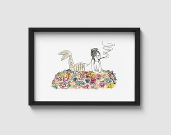 Cynical mermaid | watercolour illustration | A4/A5 art print
