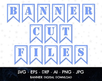 A-Z Banner, SVG Banner Cut File, Build Your Own Banner, Layered Banner, Cricut Banner, Bunting Cut File, 0-9 Banner, Build A Banner, Bunting