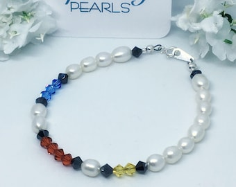 Mondrian Bracelet, Swarovski, Freshwater Pearls, Sterling Silver, Gift Box, High Quality, Minimalist