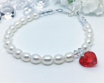 Love Bracelet, Jewellery, Heart, Swarovski, Freshwater Pearls, Sterling Silver, Gift Box, High Quality
