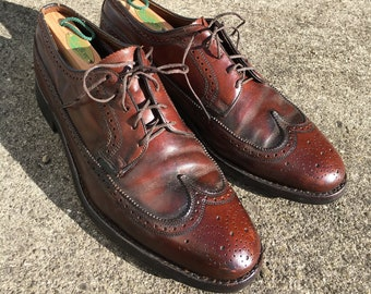 4b2c158386d Vtg. FLORSHEIM Long Wing Brogue 603968 10D Leather Blucher Balmoral Shoes