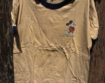 81ca9511 Vtg 60s Small Disney Mickey Mouse Ringer Graphic T-Shirt