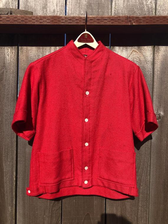 Vtg 60s Medium Red Cotton Short-Sleeve Knit Cardig