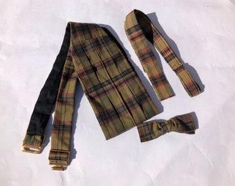 Vtg 60s Cotton Madras Bowtie and Cummerbund Black Tie Set by ROBERT TALBOTT