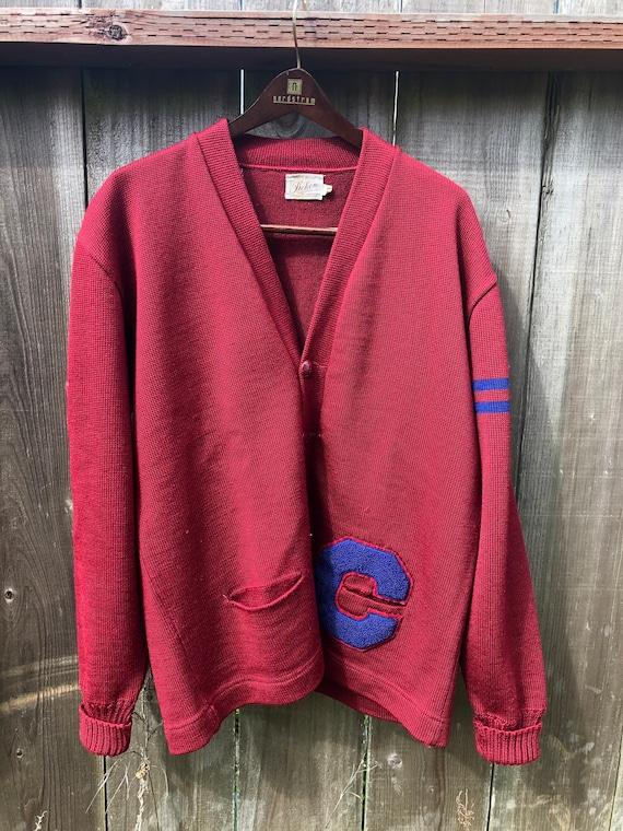Vtg 50s 60s 44 Varsity Letterman Wool Cardigan Swe