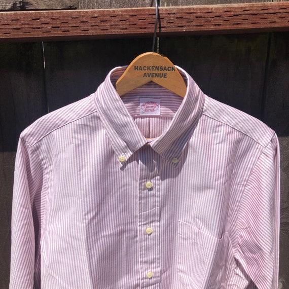 Brooks Brothers Ivy Trad Oxford Shirts OCBD 15 32 Made USA Pink Whit Blue Stripe