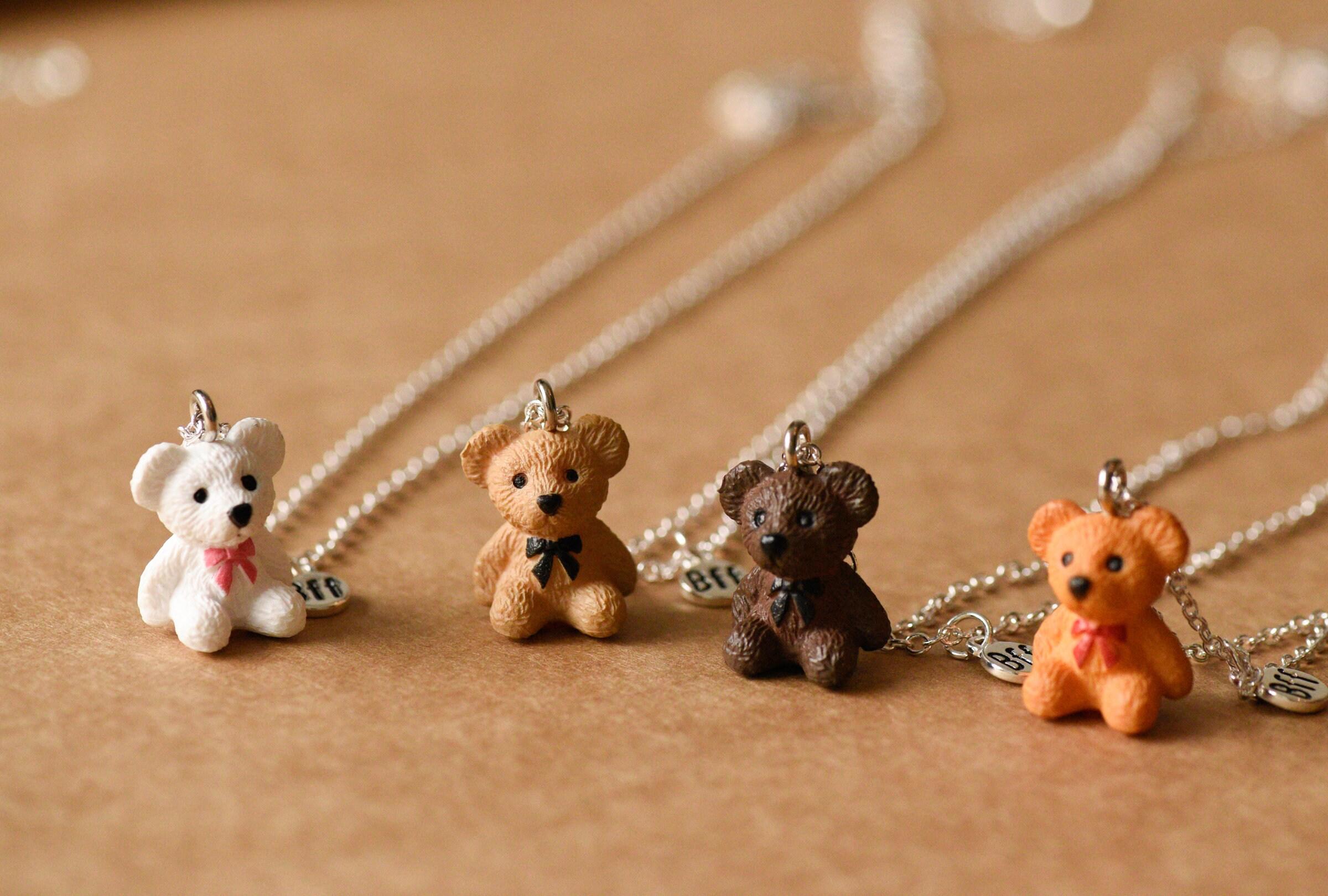 Super Cute 3D Teddy Bear BFF Necklace Best Friend Necklace