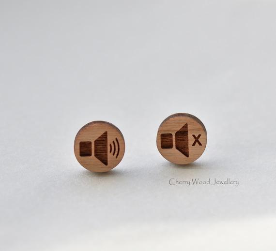Sound Speaker volume sign ear studs,Unisex ER200C Volume icon clip on earrings personalized gift Deaf Earrings,I/'m Deaf Clip Earrings