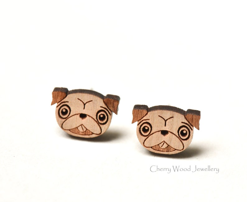 Cute Red Round Pug Dog Stud Earrings Gift NEW