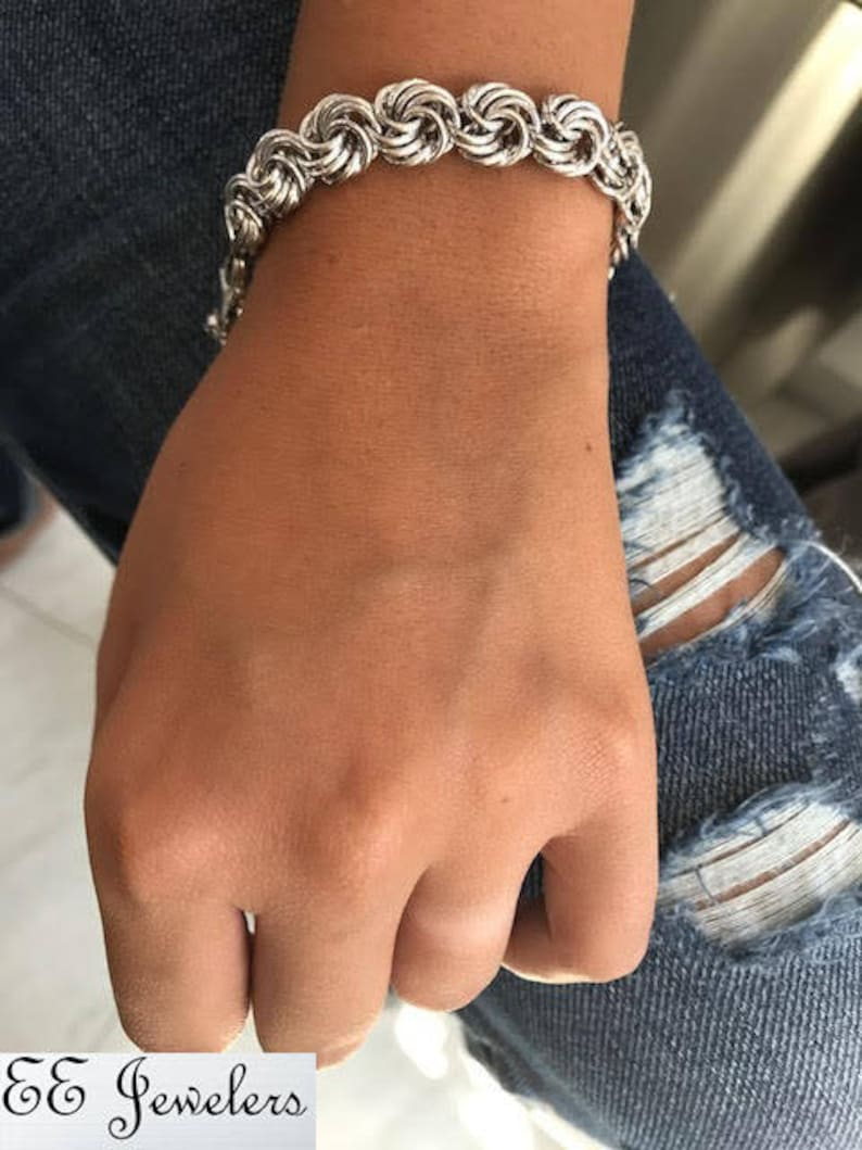 EE JEWELERS Beautiful 925 Sterling Silver Double Swirl Link Bracelet 7.5\u201d Perfect For Her Anniversary Christmas Birthday Gift Any Occasion