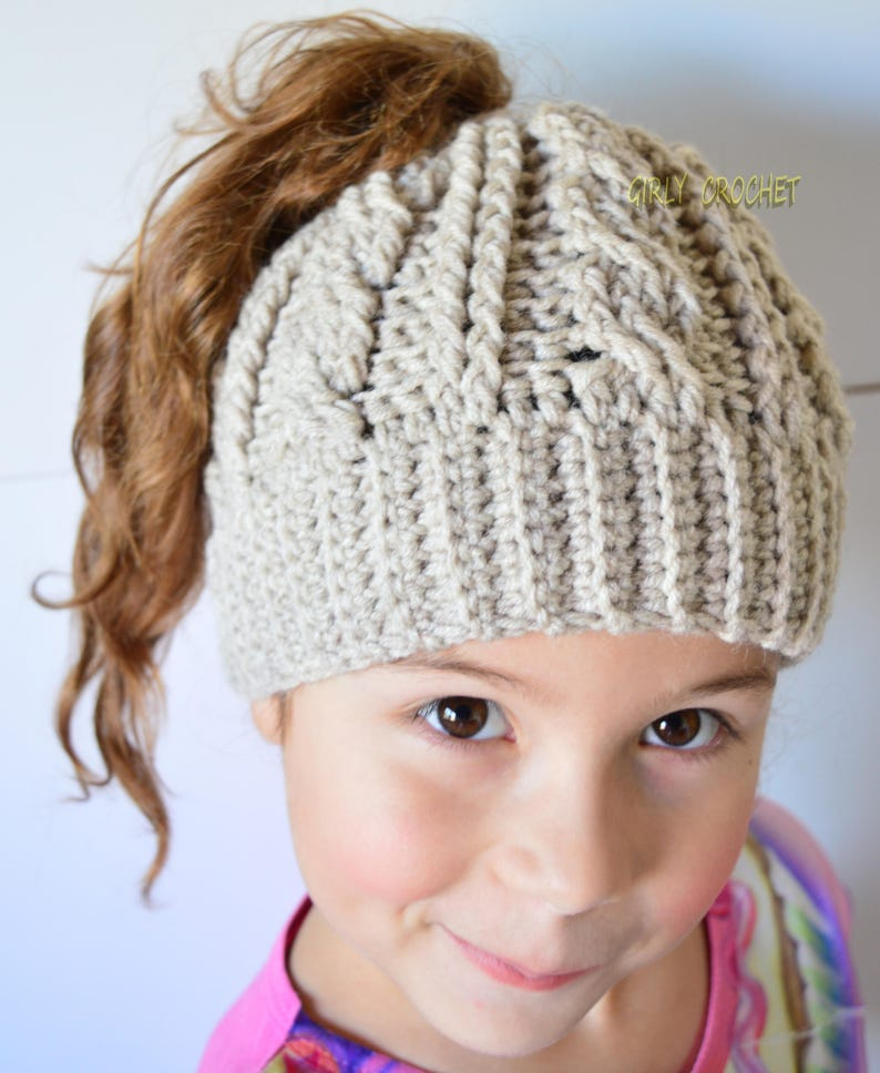 Kids Beanie Ready to Ship Girls Ponytail Hat Crochet Hat for  188156a92