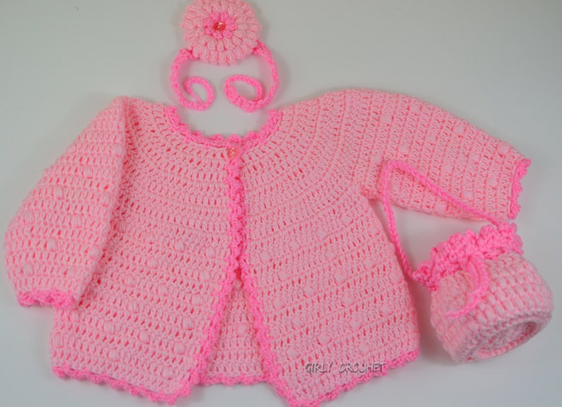 79712aedb Crochet Baby Cardigan Crochet Cardigan Set New Baby Gift Baby