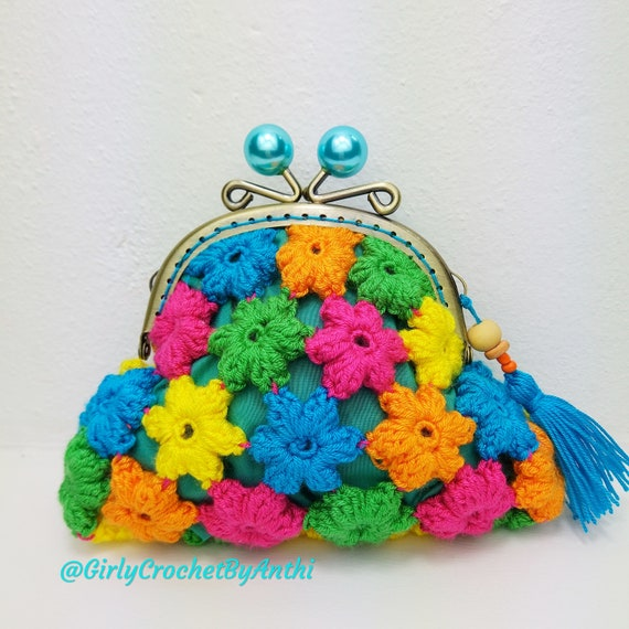 gift for sister kisslock coin purse womans purses coin holder crochet coin wallet cotton Coin pouch crochet wallet for women small
