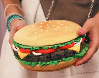 Hamburger  BAG / PURSE / CLUTCH - custom handmade bags, hamburger bags, hamburger purses, hamburgers, cuki bags, purses, cheeseburger purse