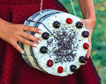 Black Forest Cake PURSE + magnetic WALLET Piece of cake- cake bag, cherry purse, dark cherries, amazing purses,statement purses,cake wallet