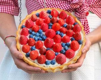 Strawberries & Blueberries tart BAG / PURSE / CLUTCH - custom handmade bags, fruit bags, strawberry purses, tart purse,handmade strawberries