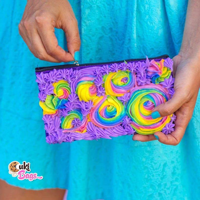colorful wallet Rainbow statement Purple Frosting Wallet WALLET  COIN PURSE rainbow wallet novelty wallet handmade wallet Turquoise