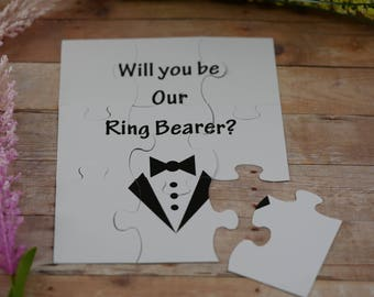 Personalized with name and role card, Will You Be my Ring Bearer, Will You Be my Groomsman , puzzle invitation, puzzle proposal invitation