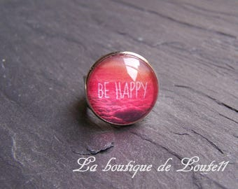 Orange Be happy red coated ° ° silver ring