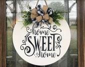 Door Hanger, Home Sweet Home Sign, Front Door Decor, Wood Door Sign, Front Door Sign, Year Round Wreath, Wreath, Door Decor, Wedding Gift