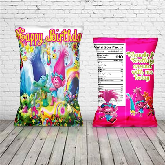 photo relating to Printable Trolls Invitations known as Trolls chip bag, Customized troll luggage, Troll social gathering, Troll goody