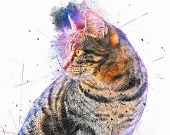 Cat Art, Feline Watercolor, Pet Canvas Wall Art, Kitty Watercolor