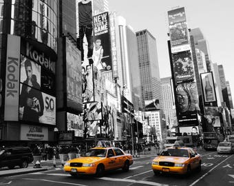 New York Yellow Taxi Time Square America Poster Black White Street Photo Cars