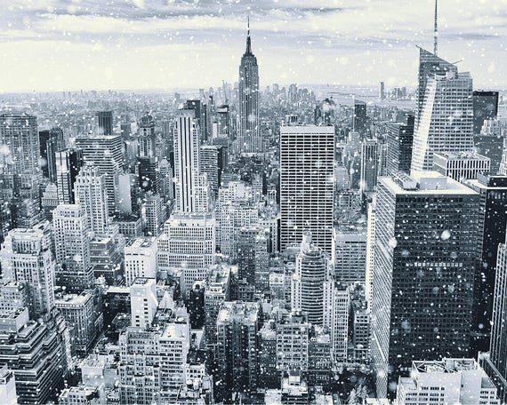 NYC poster art print New York city skyline View Studio B Empire State Building
