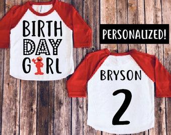 Elmo birthday shirt, baby girl birthday, elmo birthday party, elmo theme shirts, personalized birthday shirt, personalized elmo shirt