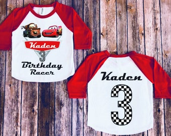 Disney Birthday Boys Cars Customize Mater Shirt Personalize Lightning Mcqueen