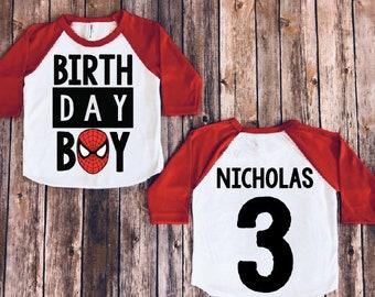 Spiderman Birthday Shirt Spider Man Superhero Party Toddler Boy