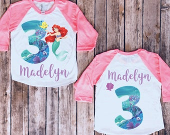 Birthday T-shirt personalised Ariel LITTLE MERMAID inspired girls//kids//childrens