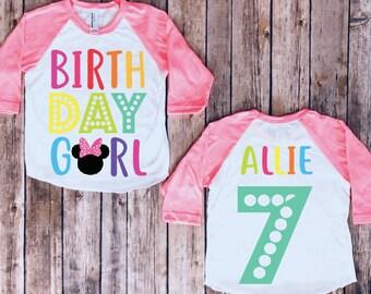 Minnie Mouse Birthday Shirt Party Disney Trip Kids