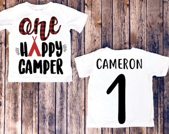 One Happy Camper Kids Birthday Shirt Gift Baby Boy Clothes Toddler Camping First