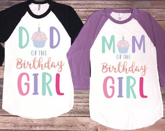 Mom And Dad Of The Birthday Girl Cupcake Version Shirt Party