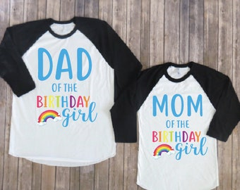 Mom and dad of the birthday girl- Rainbow version, Rainbow birthday shirt, Rainbow party, rainbow birthday, rainbow theme, rainbow shirt