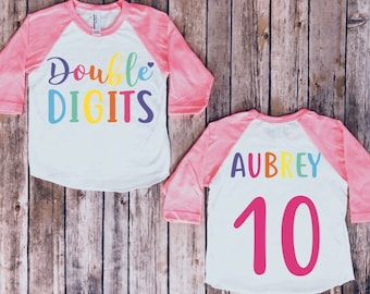 Double Digits Birthday Shirt Tenth 10th Party Girls