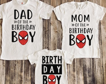 Spiderman Birthday Shirt Spider Man Superhero Party Matching