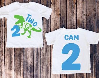 Dinosaur appliqu\u00e9 shirt Applique shirts Second Birthday Personalized 2nd 3rd 4th 5th 2nd Birthday Boy or Girl Monogrammed