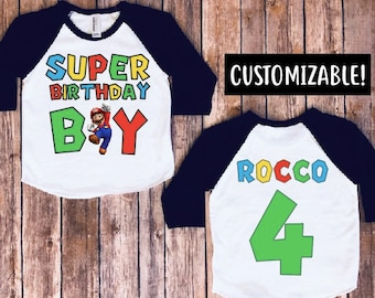 Super Mario Brothers Birthday Shirt Boy Party Kids Raglan MF