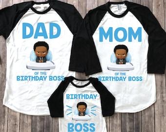 African American Boss Baby Birthday Shirt Party Theme Boy